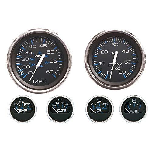 Faria KTF003 Chesapeake Stainless Steel Inboard 6-Gauge Boxed Set - Speedometer/Tachometer/Fuel Level/Voltmeter/Water Temp/Oil PSI, Black