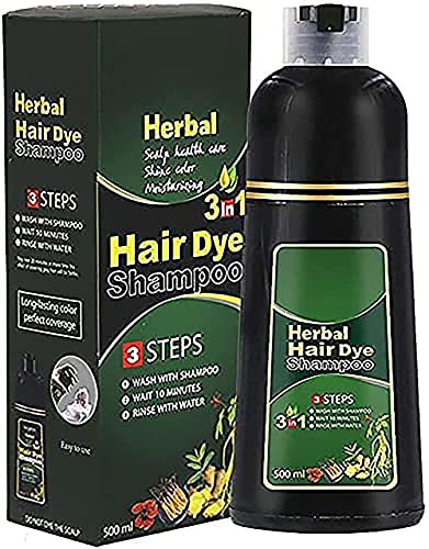 Herbal Hair Coloring Shampoo, 10Mins Instantly Restore Natural Hair Color Natural Hair Dye Shampoo, Instant Herbal Hair Coloring Dye, Colors Hair in Minutes, Cares for Your Hair,500ml (Black)