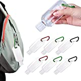 6 PCS Portable Plastic Travel Bottles,Travel Bottles Keychain,Plastic Keychain Bottles, Leakproof Refillable Empty Bottles Hand Sanitizer Containers with Flip Cap and Carabiner(2oz/50ml)