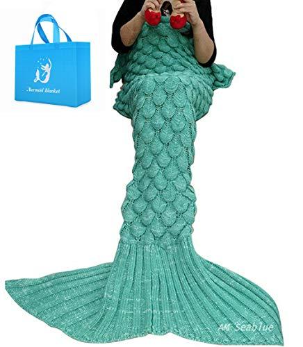 Cola de la Sirena, Fish-Scale - Manta de patrón cola de sirena todas las estaciones Manta de punto, Saco de dormir (Verde)