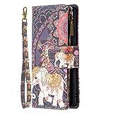 Miagon 9 Slot per Schede Custodia per Xiaomi Poco X3 NFC,Colorato Cerniera Portafoglio a Libro in PU Pelle Flip Cover Kickstand Magnetica Case Antiurto,Elefante Fiore