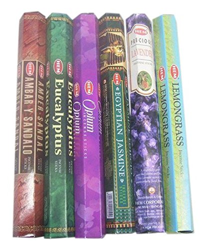 HEM assorted best sellers incense sticks pack of 6 - 120 Sticks, Fragrance - Lemongrass, Lavender, Egyptian Jasmine, Ambar Sandalo, Opium, Eucalyptus