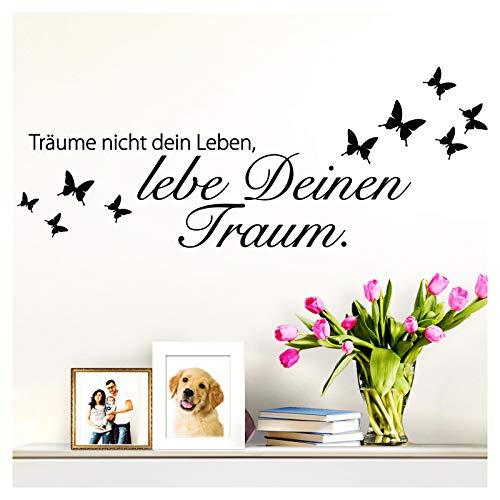 Wandaro Wandsticker Spruch Träume Nicht Dein Leben | schwarz 80 x 26 cm | Wandaufkleber Flur Wandspruch Wohnzimmer Wandtattoo Aufkleber W3469