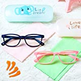 Blue Light Glasses for Kids 2 Pack,Cute Pink Computer Glasses for Kids Girls,Flexible Silicone Unbreakable Frame Blue Light Blocking Glasses with Case for Boys Age 3-10 Dark Blue
