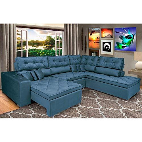 Sofa de Canto Retrátil e Reclinável com Molas Cama Inbox Platinum 3,34x2,36 Tecido Suede Azul