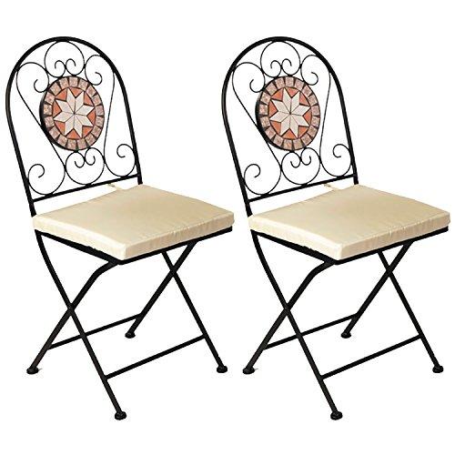 2 Stück Dekorativer Mosaik Klappstuhl Mosaikstuhl Gartenstuhl mit Stuhlpolster Beige für In- und Outdoor