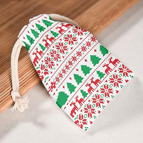 Lind88 Aufbewahrungstaschen mit Kordelzug für Weihnachten, robust, für Valentinstag, Geburtstag, 12 Stück, Baumwolle, weiß, 12 * 18cm