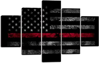 Yatsen Bridge 5 Pieces American Flag Wall Art Pictures for Home Decor Black White and Red US Flag Painting on Canvas Poster Print Artwork Modern Framed Living Room Decorative Easy to Hang (60