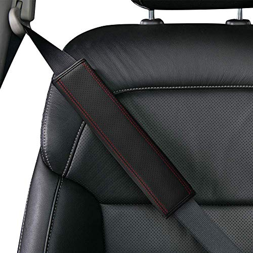 Aukee Seat Belt Shoulder Pad, Soft Leather Car Safety Strap Covers Neck Mat for...