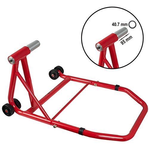 Rear Bike Paddock Stand Back Wheel Lift Chock Motorcycle Cruiser Garage Red