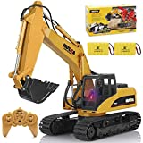 Remote Control Excavator Toy 1/14 Scale RC Excavator 15 Channel 2.4Ghz Full Functional Construction Vehicles RC Truck with 2 Rechargeable Batteries Lights Sounds Birthday Xmas Gift for Boys Kids