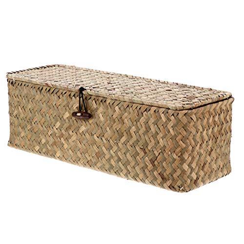 BESPORTBLE Cesta de mimbre de almacenamiento con tapa de tela organizadora para cestas de escritorio, caja de almacenamiento, varios artículos de escritorio