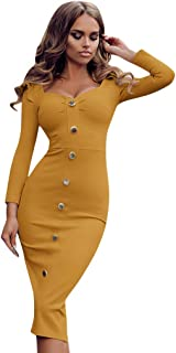 Women Sexy Bodycon Midi Dress, V Neck Wrap Ruched Long Sleeve Button Solid Party Slim Dresses