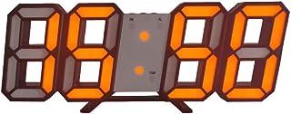 ILuvic LED 壁掛け デジタル時計 電子3D 立体 wall ウォール clock USB電源 ボタン電池付き 3段階の明るさ調整 自動調節 スヌーズ機能 置き時計 壁掛け時計 家の装飾 卓上時計 オフィス(全12カラー) (黒枠オレン...