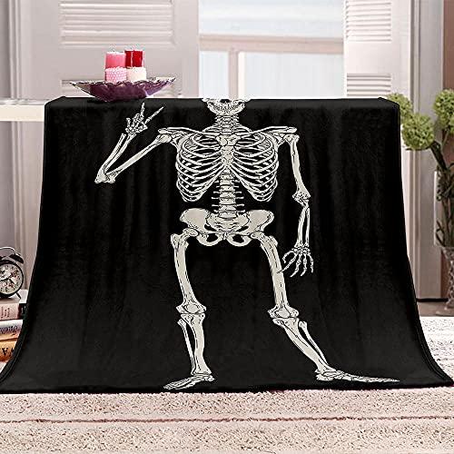 Ejiawj Mantas para Sofa Baratas Huesos Humanos 120x200 cm Manta de Lana...