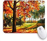 MISCERY マウスパッド 国のカラフルな木と森の紅葉秋秋のシーズン穏やかな自然油絵 高級感 おしゃれ 防水 端ステッチ 耐久性が良い 滑らかな表面 滑り止めゴム底 24cmx20cm