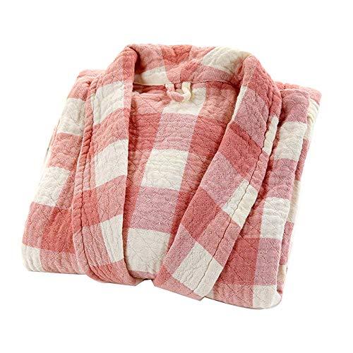 AXIANQI Bademantel Herbst Winter Baumwolle Erwachsene Doppel-Bademantel Hotel Plaid Bademantel Paar Streifen Bademantel A (Farbe : Pink)