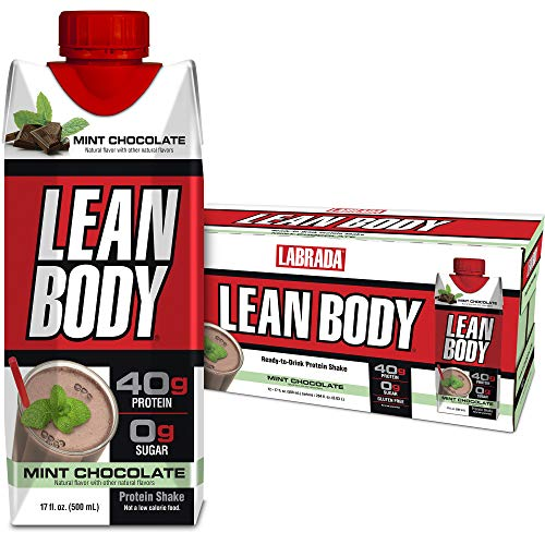 Lean Body Ready-to-Drink Mint Chocolate Protein Shake, 40g Protein, Whey Blend, 0 Sugar, Gluten Free, 22 Vitamins & Minerals, (Recyclable Carton & Lid - Pack of 12) LABRADA