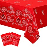 Bandana Western Party Tablecloth Red Paisley Print Plastic Table Cover Red Dandana Design Table Cloth Rectangle Floral Tablecloth for Western Cowboy Themed Party Decorations, 51 X 87 Inches (3 Pack)