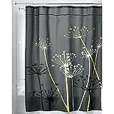 iDesign Thistle Duschvorhang | 180,0 cm x 200,0 cm großer Badewannenvorhang | waschbarer Duschvorhang aus weichem Stoff | mit Blumen-Motiv | Polyester grau/gelb