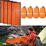DIBBATU Emergency Survival Sleeping Bag, Thermal Bivy Sack Blanket, Waterproof Lightweight, Mylar Portable Nylon Sack for Camping Hiking Outdoor Adventure Activities (orange-004)