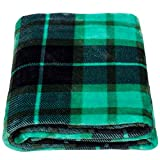 SOCHOW Flannel Fleece Throw Blanket 50 × 60 Inches, All Season Plaid Green Blanket for Bed, Couch, Car