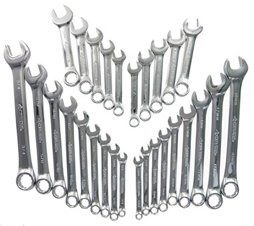 Husky 28CW002NC 28-Piece SAE and Metric Combination Wrench Set and Plastic Labeled Storage Case