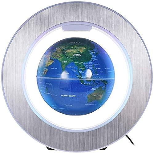 Qjkmgd Adornos de Oficina, Globo de Escritorio, Levitación magnética de 6 Pulgadas Globo de la Tierra con luz de Color LED Forma Circular Base para la decoración de Escritorio de Oficina en el hogar,