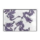 LINARUBE Alfombrilla de baño,Antideslizante,Dragón japonés de Porcelana Azul y Blanca Alfombra de Ducha 75cmx45cm