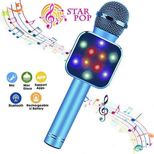 BlueFire Wireless Bluetooth Karaoke Microphone 5 in 1 Handheld Karaoke Microphone with LED Lights, Portable Microphone for Kids, Toys for 4-12 Year Old Girls Boys (Blue)