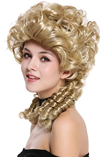 WIG ME UP - DH1009-ZA89 Perücke Damen Karneval Barock Renaissance Romantik Spiral Hofdame Locken toupiert Blond