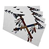 Mugod Placemats Two Crossed Tomahawks Feathers Beads Indian National Weapon Native American Ax Decorative Heat Resistant Non-Slip Washable Place Mats for Kitchen Table Mats Set of 4 12'x18'