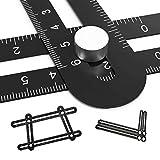 Vickmall Angleizer Copieur d'angles à règles coulissantes, Pliant, Universel, Pour entrepreneurs et artisans, noir