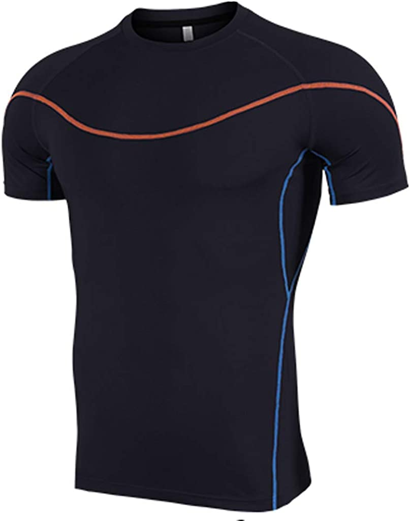 Gergeos Men's Quick-Drying Workout Athletic Compression Shirts Short Sleeve Sports Baselayer T-Shirts Tops