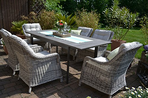 Gartenmöbel Set Como-6 Tisch ausziehbar Holzdekor mit 6 Sessel Rattan Polyrattan Geflecht - 2