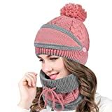 heekpek Damen Wintermütze Schal Mundschutz Set Strickmütze Warme Pompom Beanie Mütze Loop Schal Fleecefutter für Damen Outdoor Set Winter Kombi Set