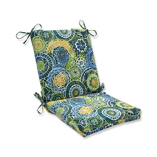 """Pillow Perfect Outdoor/Indoor Omnia Lagoon Square Corner Chair Cushion, 36.5"""" x 18"""", Blue"""