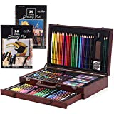 Full Set Art Supplies—111 Pieces for creating art, sketching, drawing, coloring, doodling, and painting - 24 waterolored pencils, 24 oil pastels, 24 colored pencils, 24 watercolor cakes, 2 graphite pencils, 2 paint brushes, 3 sandpapers, 1x1-hole pla...