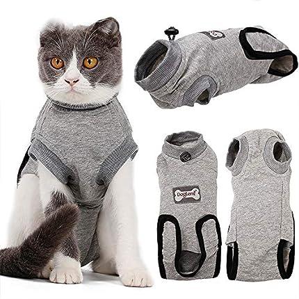 BVAGSS Traje de Recuperación Anti-mordida E Algodón Alternativo Camisa para Gatos y Perros, heridas y Enfermedades de la Piel en Interiores XH008 (XS, Grey)