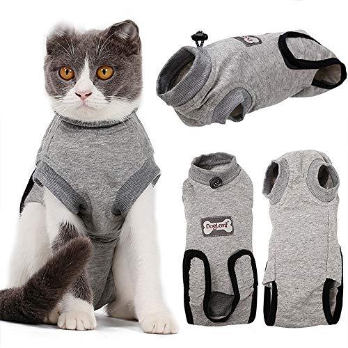 BVAGSS Haustier Katzen Recovery Sterilization Suit Atmungsaktives E-Collar Alternative für Katzen Hunde Haustiere XH008 (M, Grey)