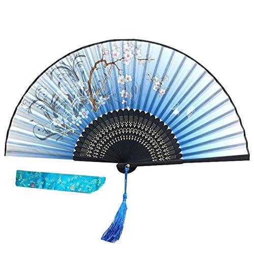 enioysun Abanico Ventilador Plegable portátil de Verano Retro de bambú de bambú Fan Mostrar Ventilador de decoración (Color : B)