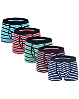 Aserlin Men's Underwear Boxer Briefs 5 Pack Cotton No Ride-up Sport Underwear-S-5Stripe-Fly-S