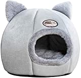 lifcasual Cat Cave Bed, Velvet Self-Warming 2-in-1 Cat Tent/Kitten Bed/Cat Hut with Removable Washable Cushion, Comfortable Pet Sleeping Bed for Cats Kitten