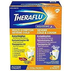 Theraflu Multi-Symptom Severe Cold and Theraflu Nighttime Severe Cold and Cough Hot Liquid Powder Co