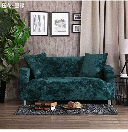 Allenger Funda de Sofá,Stretch Pattern Sofa Cover, Seat Cover with armrests, Non-Slip Furniture Cover, Machine Washable-Dark Green_90-140