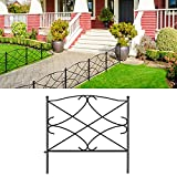AMAGABELI GARDEN & HOME Decorative Garden Fence GFP007 24in x 10ft Galvanized Outdoor Rustproof Metal Landscape Wire Fencing Folding Wire Patio Fences Flower Bed Animal Dogs Barrier Border Edge