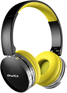 Wireless Bluetooth Foldable Headphones Stereo Bluetooth Headset Combo Deep Bass Noise Cancelling, with Mic for Home Office Online Class Travel Cellphone PC TV,Yellow