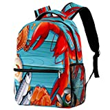 Set of Seafood On Wooden Backpack School Backpack Book Bag Casual Daypack