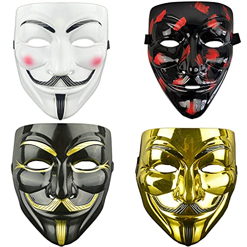 4 Pack Halloween V for Vendetta Mask Set,Party, Halloween Kit for Kids Women Men Halloween Party ostume Cosplay