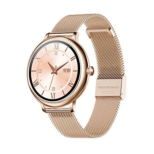 Moda Smart Watch Women 1.08'HD Personalizado Papel Tapiz Cardíaco BP Monitor Función Femenina Smartwatch para iOS Android (Color : Mesh Rosegold)